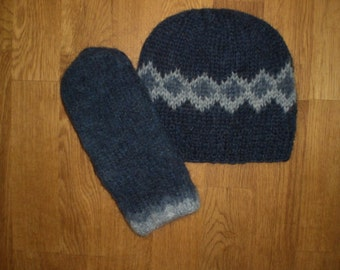 Icelandic set of hat and mittens in blue and light blue size medium ready to ship