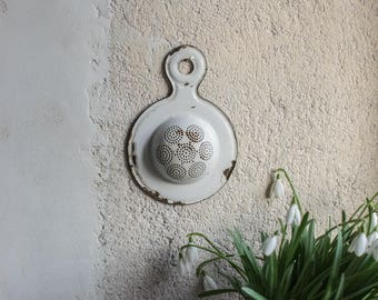 Vintage French Stainer // Enamelled Tea Strainer // Tiny White Enamelware //  French Country Decor