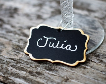 6 Mini Wood Chalkboard Wine Charms for Wedding Favors,Wedding Chalkboard Place Settings, Hostess Gifts, Bridal Shower Gifts, NON TOXIC