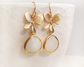 Gold Flower Earrings, Wedding, Bridal Jewellery, White Earrings, Bridesmaids Earrings, Elegant, Personalised Work Jewelry, Everyday Wear
