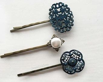 Navy Blue Wedding Sapphire Hair Pins Ink Blue Pearl Bobby Pins Set Dark Blue Bridal Hair Pins Bridesmaids Gift Hair Jewelry Boho Chic