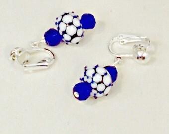 Handmade earrings lampwork bead blue white clip or pierced Pat2