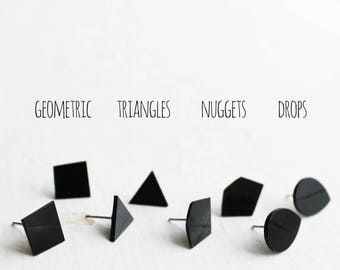 black stud earrings black post earrings geometric black studs flat ear studs minimalist studs vinyl record studs recycled jewelry LP