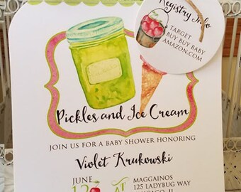 Craving Baby Shower Pickles Ice Cream Themed Baby Shower Invitation - Mason Jar Die Cut