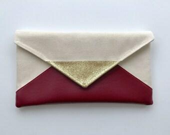 Cranberry Red Glitter Envelope Clutch, Glitter bridesmaid, bridesmaid gift, bridal clutch, wedding gift set