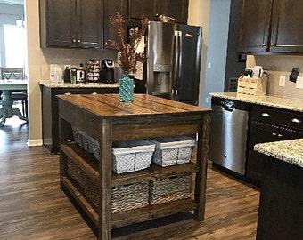 Kitchen island with storage/kitchen cabinet/kitchen storage/cabinet/rustic/table/handmade/storage/bar/kitchen