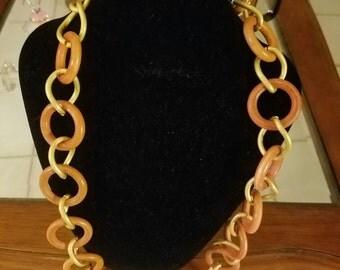 LUCITE Orange Circle and Gold  Chain Flapper Retro Necklace