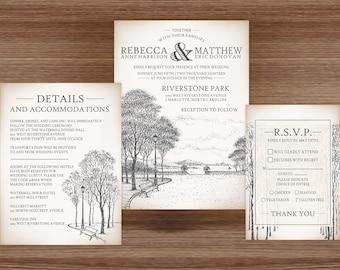 Wedding Invitations - DEPOSIT TO START Park Avenue Suite - Custom Wedding Invites - Personalized Wedding Invitations - Full Wedding Suites