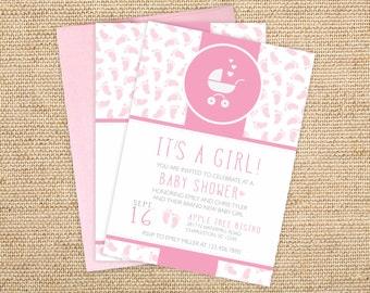 Baby Shower Invitations - Baby Shower Invitations - Printed Footprints Baby Shower Invites - Personalized Cute Baby Shower Invitations