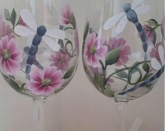 Dragonfly and wildflower 17 ounce handpainted wine glass set of two