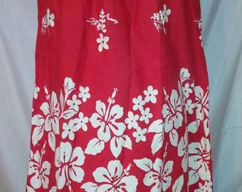 "SPRING CLEARANCE SALE 60s Vintage Ui-Maikai Red Hibiscus Aloha Hawaiian Casual Smock Dress-Size 8-Medium-40"" Bust-Hawaii-Resort Beach Cruise"