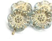 4pc Water Blue Anemone Flower beads, Gold Inlays, Golden wash, Czech glass Round daisy beads, 5 petal - 18mm - 1418