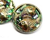 18mm Golden Fish Czech Glass Button, Iridescent Green Purple, Gold Fish, Handmade Button bead, size 8, 1pc - 1197