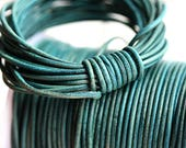 2mm Natural Round Leather cord - Vintage Teal Turquoise, Blue Green - 10 feet, LC002