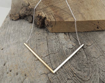 Large V Necklace - Mixed Metals Two Tones - Eco-Friendly Sustainable Silver - Brass and Sterling Silver - Handmade to Order