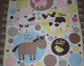 Farm Animal Talk Quilted Comforter Blanklet with Matching Pillow Case