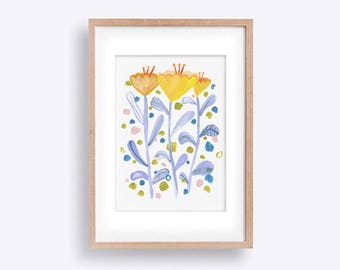 Tall Tulips - Handpainted Playful Floral Illustration