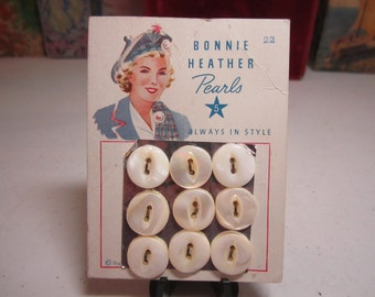 Vintage 1930's-40's unused Harvey Chalmers Bonnie Heather Pearls unused mop buttons on original card scottish lady wears traditional tartan