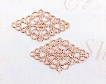 4 pcs. Rose Gold Filigree, Brass Filigree, Brass Connector, Filigree Connector, Earring Drop, Brass Drop, 45mm x 26mm - (rg129)