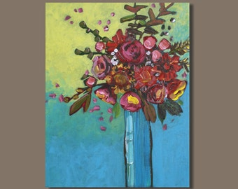 FREE SHIP abstract painting, folk art flowers in vase, pink red turquoise blue, floral arrangement, bouquet, original art, still life art