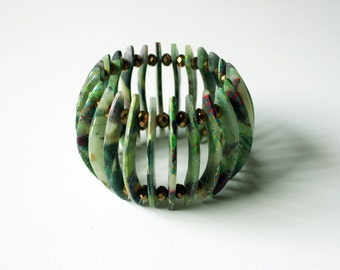 Polymer clay bracelet, translucent ,green, jade,graffiti,elastic,OOAK,WYSIWYG,handmade bracelet,wearable art,woman,boho,collage,chic