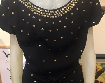 1940s Black Crepe Stud Dress Med/Lg