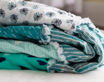 Throw Rag Quilt | Throw Blanket | Rag Quilt | Baby Blanket | Teal and Blue | Feathers | Flowers | Hearts
