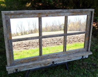 "Custom Made Barnwood Framed Mirror with 6 panes overall size of 36"" x 24"""