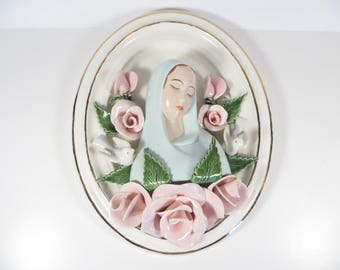 Vintage Porcelain China Virgin Mary Plaque - Mary Roses Wall Plaque