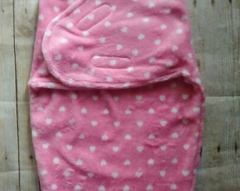 Personalized Minky Swaddle Blanket Hot Pink Hearts