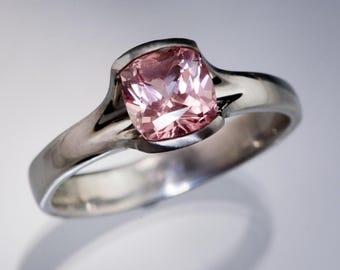 Chatham Created 6mm Cushion Champagne Sapphire Fold Semi-bezel Engagement Ring, Palladium, White Gold, Rose Gold, Yellow Gold or Platinum