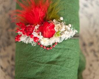 Beautiful Christmas Newborn Headband 1,2, or3 piece Swaddle set 1st Photos Red Green 4 foot Newborn Swaddle gauze set open Weave 100% cotton
