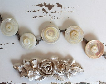 Antique Button Bracelet, mother of pearl, shell carved vintage assemblage warm linen victorian layered jewelry MOP