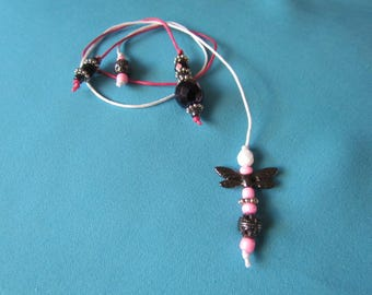 Wings - Bright Pink, White, Silver Beaded Bookmarks 8480