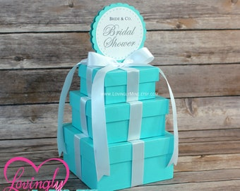 Small Centerpiece | Squate 3 Tier Centerpiece in Light Teal and White  |  Baby & Co  |  Bride and Company  |  Baby Shower  |  Bridal Shower