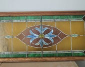 Large Stained Glass Window, Vintage Windows, Stained Glass Panel, 1940s Stained Glass, Green and Blue Stained Glass, Glass Wall Decor