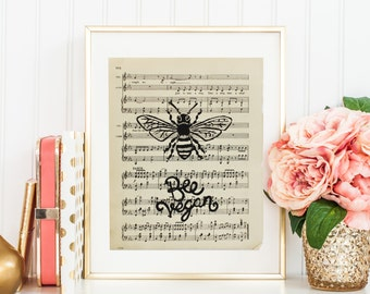 "Original Handmade Lino Cut Art Print - Signed - 10.75x8.5"" - 'Bee Vegan' - Old Sheet Music Paper - Vintage"
