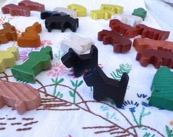 Mini Wood Blocks Animals farmer and wife Mixed lot mini blocks painted