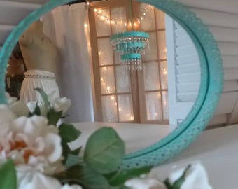 Vintage Oval Filigree Mirror Turquoise Up cycled Dresser Mirror Aqua white washed chippy