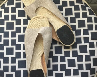 Vintage excellent condition authentic HERMES ESPADRILLE SANDALS slip on flats beige canvas leather made in spain size 38 true to size