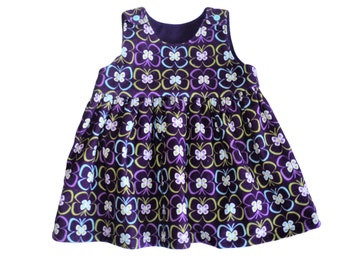 Corduroy Baby Dress, Toddler Girl Dress, Purple Butterfly Jumper Dress, Size  18 mo. Ready To Ship,  Baby Girl Clothes, Girls Outfit