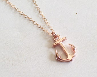 Rose Gold Anchor Necklace, Rose Gold Filled Necklace, Dainty Anchor Necklace, Rose Gold Nautical Anchor Pendant Necklace, Anchor Jewelry