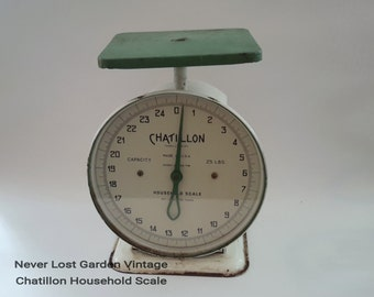 Chatillon Household Scale White and Green Vintage