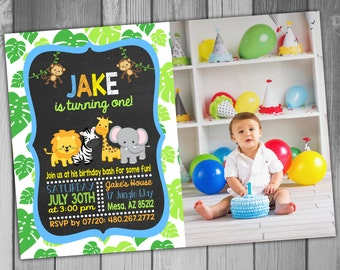 Jungle Birthday Invitation Jungle Birthday Party Safari Birthday Invitation Safari Birthday Party Printable Birthday Invitation 1st Birthday