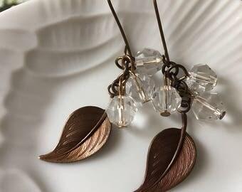 Crystal Leaves cluster earrings- nature inspired eartings for women