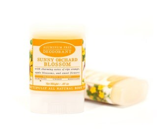 Sunny Orchard Blossom Travel Size Deodorant - All Natural & Aluminum Free Deodorant - Ripe Orange, Apple Blossoms, Spiced Flowers