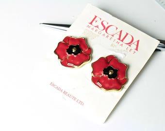 Vintage ESCADA  Red flower  earrings /Original Card  # 964
