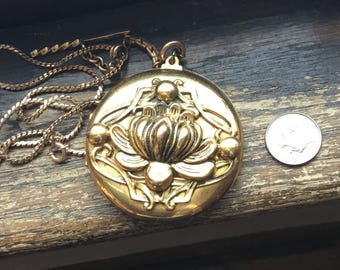 Large gold photo locket with  gol filled watch fob and gold filled necklace chain