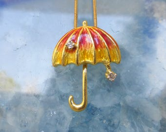 Unique 14k Diamond Rain drop Enameled Umbrella pendant/ brooch. No chain. One of a kind vintage.