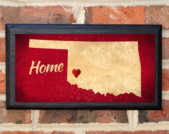 Oklahoma OK Home! Wall Art Sign Plaque Gift Present Home Decor Vintage Style Custom Location Personalized Color Norman Enid Tulsa Classic